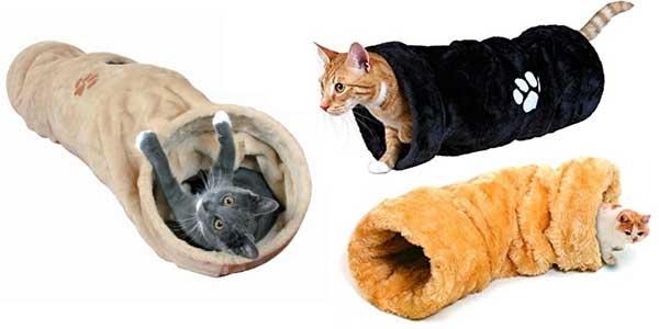 Tunnel en peluche pour chat