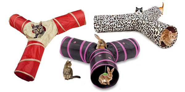 Tunnel pour chat : triple tubes